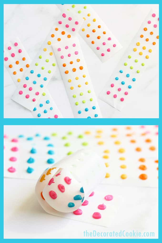 How to make retro homemade candy buttons with colorful royal icing, a copycat recipe of the traditional candy. Great rainbow and unicorn party food! Video how-tos. #RainbowFood #CandyButtons #RetroCandy #CandyDots #Homemade #CopycatRecipe #candybuttons #rainbow #candy #retro #vintage