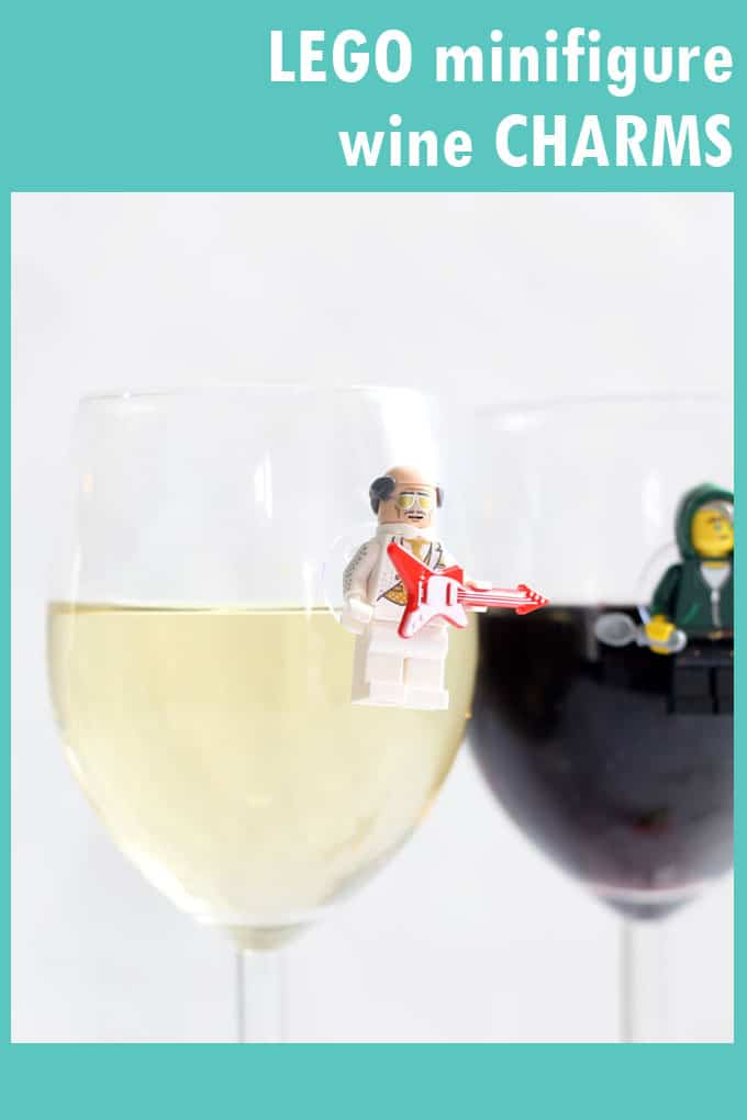 Fun DIY Lego craft: Make Lego Minifigure wine charms.