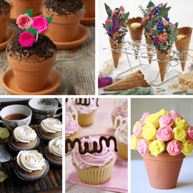 A roundup of beautiful cupcake ideas for Mother's Day and spring. #mothersday #spring #cupcakes #cupcakeideas