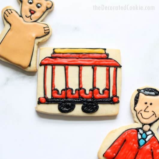 cookie decorating idea: Mr. Rogers' Neighborhood cookies