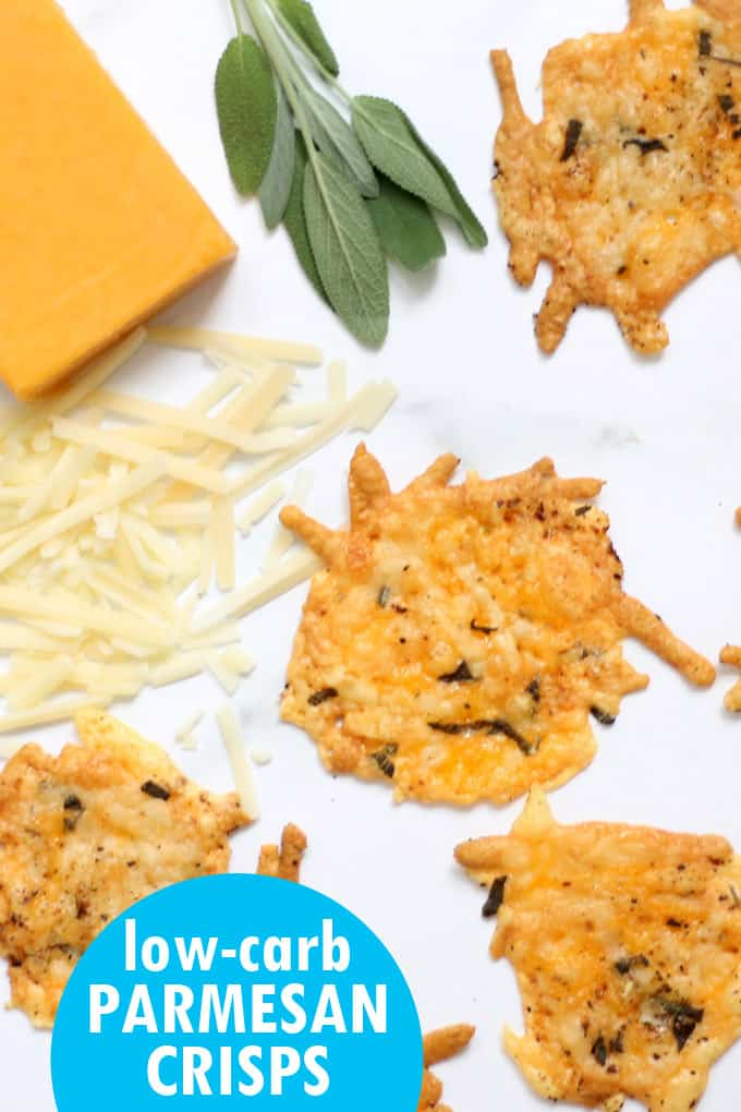 Parmesan crisps with herbs are an easy, low-carb, keto snack and appetizer. Made with only a few ingredients, shredded cheese, pepper, and sage. Video recipe. #ParmesanCrisps #LowCarb #Keto #snacks #appetizers #Cheese #Herbs