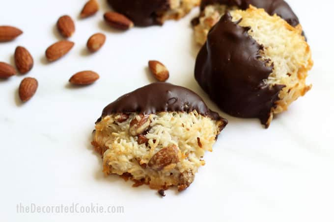 Almond Joy Cookies! Four-ingredients only. Coconut, almonds, and chocolate baked into a delicious cookie, just like the classic candy bar. #AlmondJoy #Hersheys #AlmondJoyCookies #Coconut