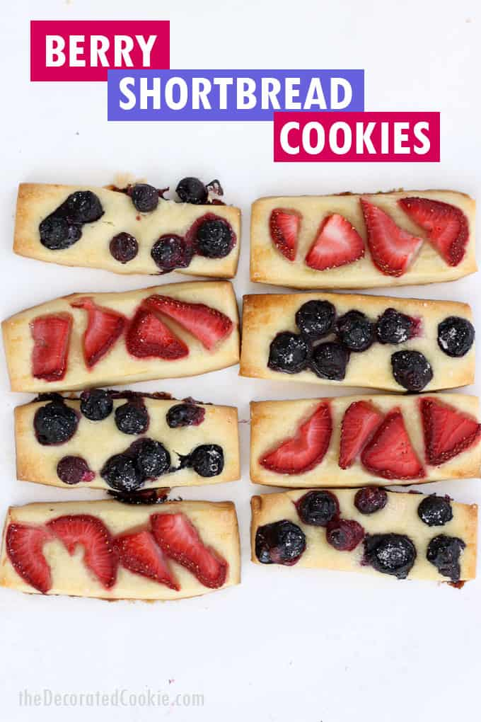 strawberry and blueberry shortbread cookie stick