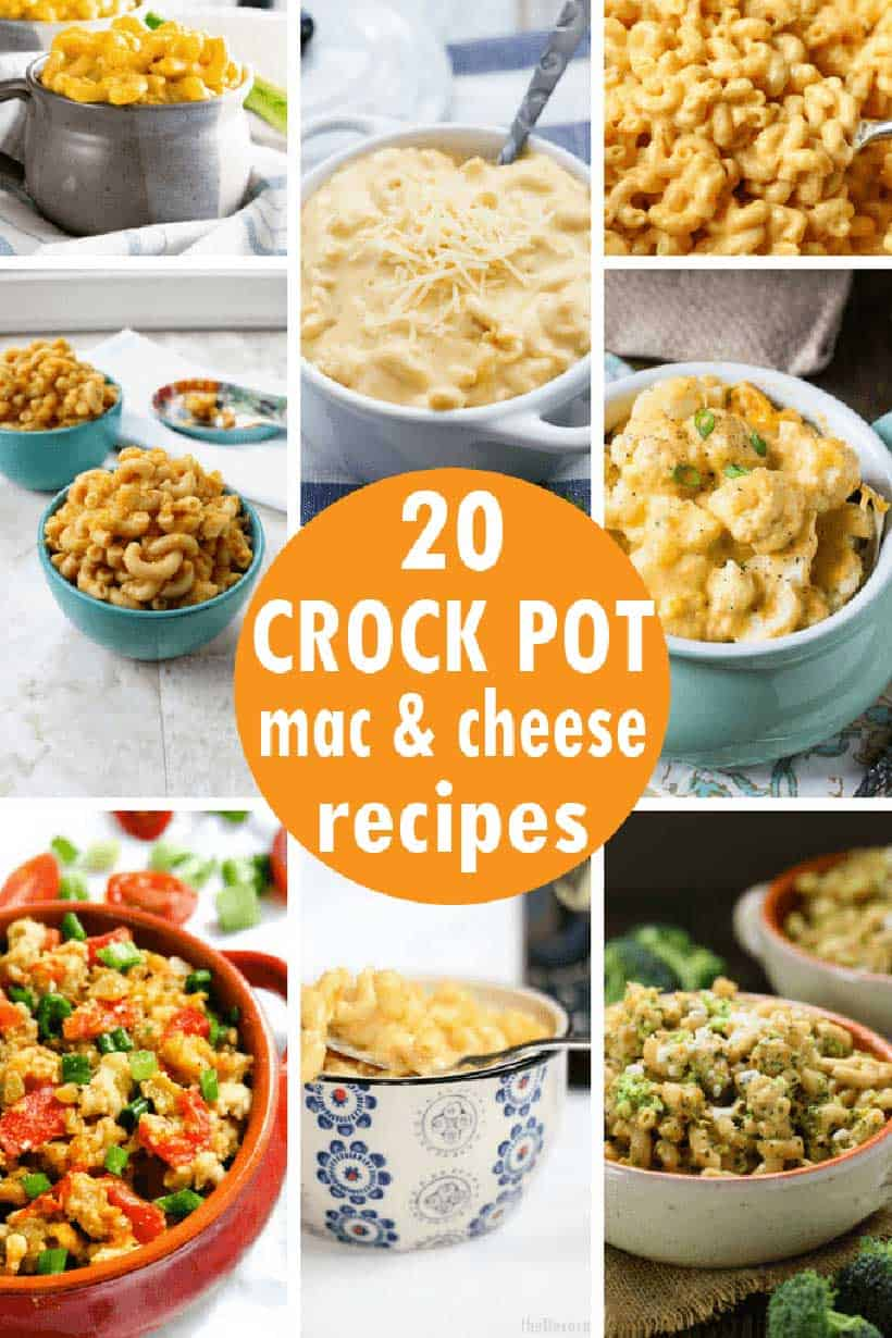 collage of crock pot mac and cheese recipes