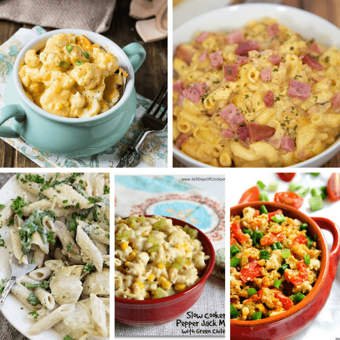 Crock pot mac and cheese roundup of 20 of the best recipes, including classic slow cooker mac and cheese, gluten-free, low carb, healthy, veggie, ham, and more. #CrockPot #SlowCooker #MacandCheese