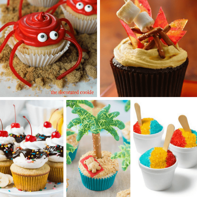 Summer cupcakes: Ideas from around the web for decorating cupcakes this summer, fantastic for BBQs, pool parties, beach-themed events, and more. #SummerCupcakes #CupcakeIdeas #CupcakeDecoratingIdeas