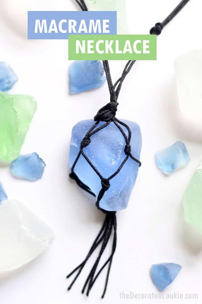 macrame sea glass necklace
