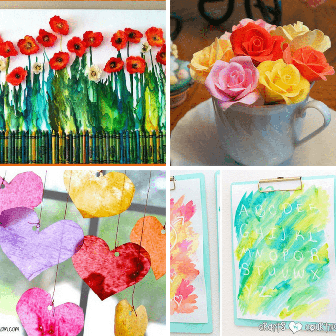 A roundup of tutorials to make crayon art! Crayon crafts and melted crayon art activities for both kids and adults. And how to make melted crayon art. #CrayonART #CrayonCrafts #MeltedCrayonArt