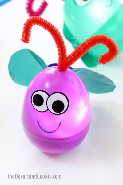 light-up firefly summer craft for kids with plastic Easter egg