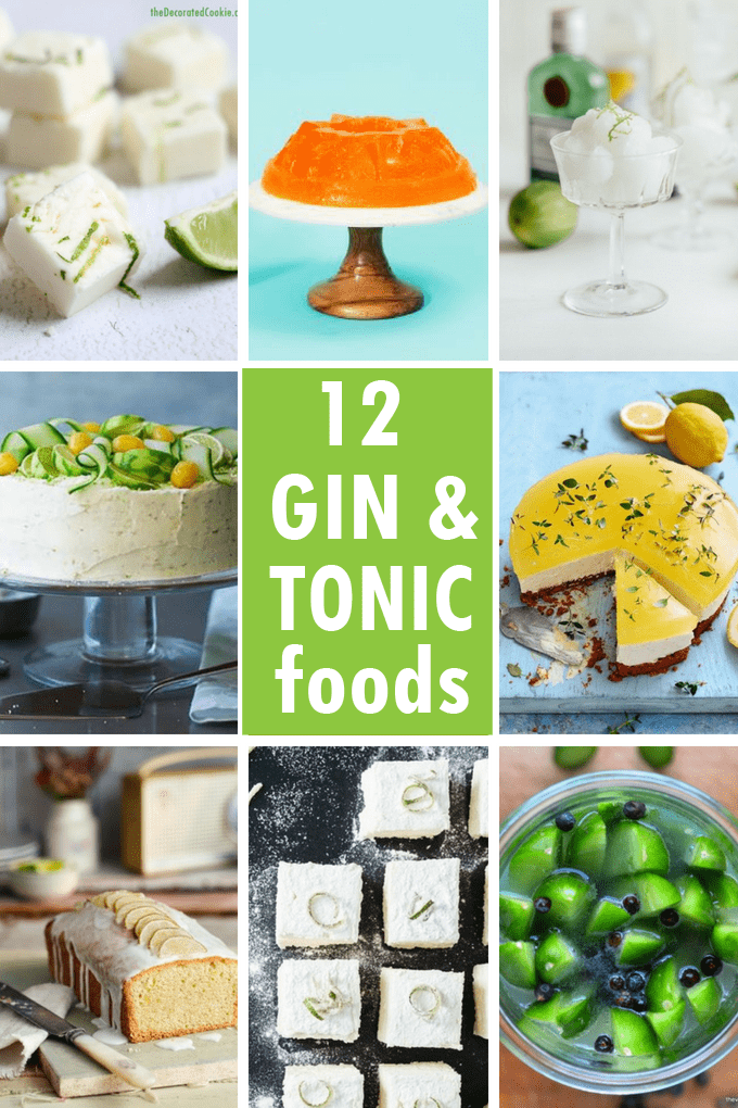 Gin and tonic food: A roundup of food and treats inspired by the gin and tonic cocktail. Recipes that use gin and tonic. #ginandtonic #foodideas #recipes