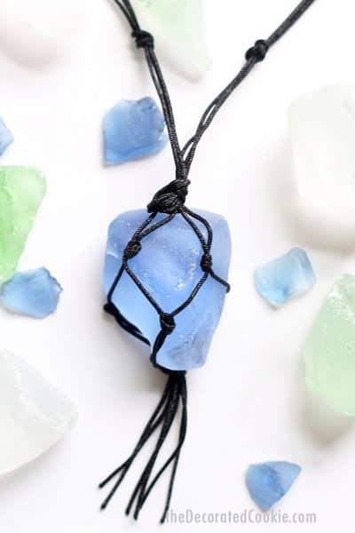easy macrame sea glass necklace jewelry craft