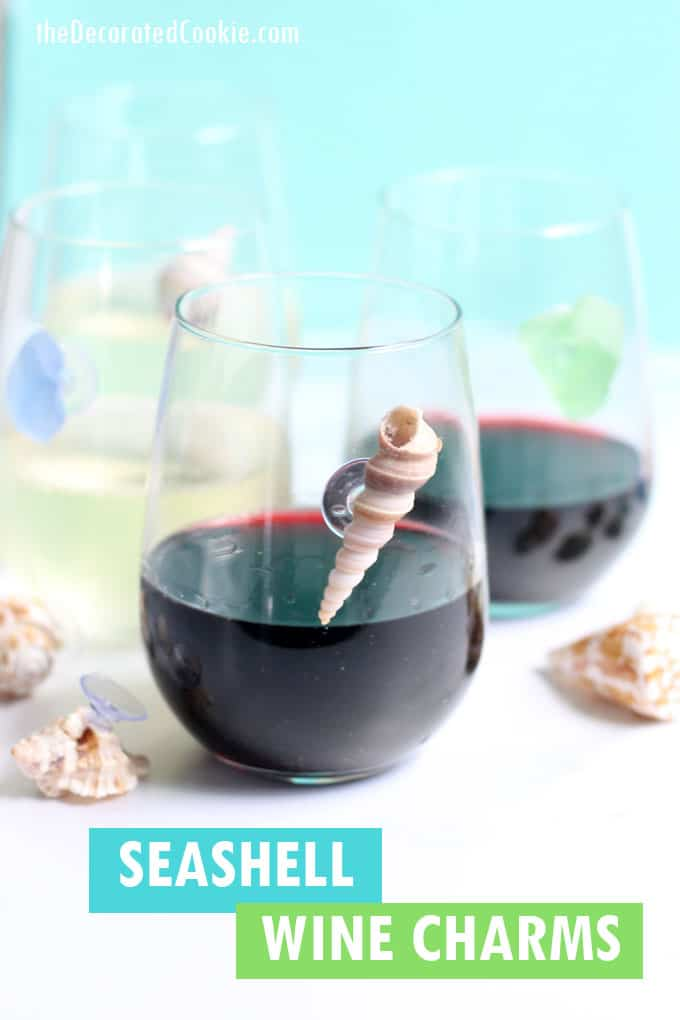 seashell wine charms on glass of wine