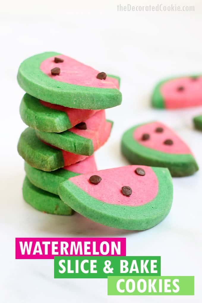 WATERMELON slice and bake cookies