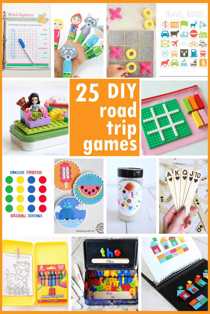 A roundup of 25 aweseome DIY road trip games, travel kits, and free printables for kids to keep them busy in the car.  #Cargames #kidsactivitykits #kidstravel #roadtrip #roadtripgames #cartravel #kidsactivitykits #DIY #kidscrafts