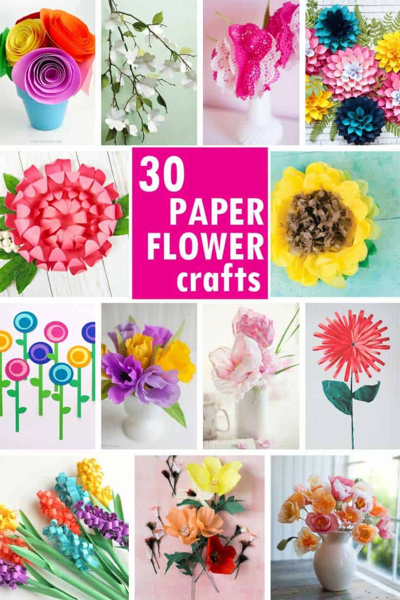 collage of paper flower crafts