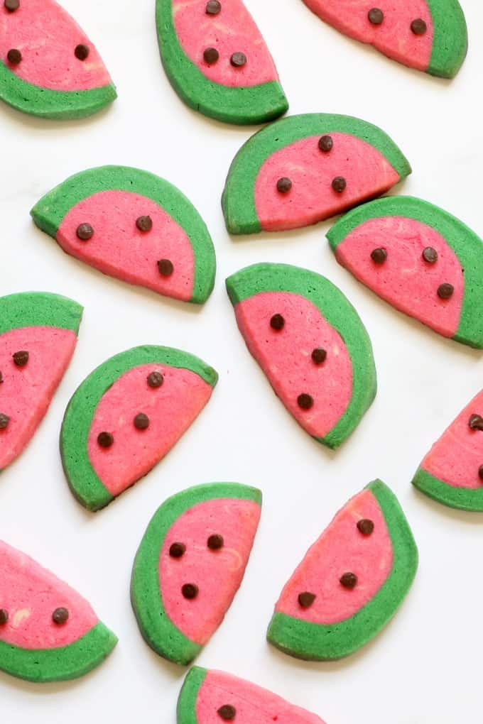 Watermelon slice cookies: How to make slice and bake cookies for summer. #Watermelon #Cookies #SliceandBakeCookies #Summer #SummerCookies