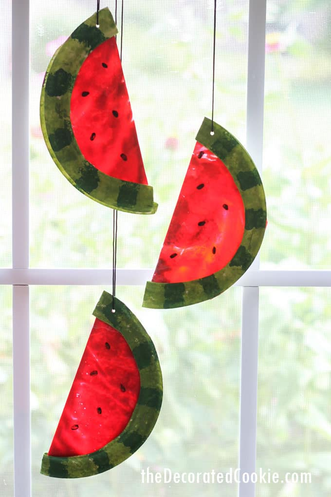 Watermelon Suncatcher Melted Crayon Craft For Summer The