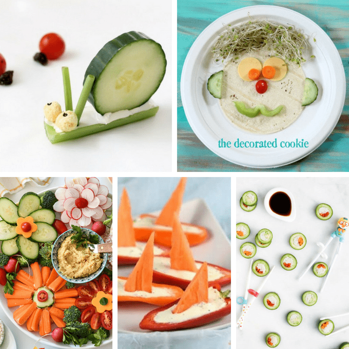 Even fussy and picky eaters will eat their veggies when you make one of these 20 fun vegetables ideas for kids. Fun veggie art for kids. #veggies #vegetables #kids #funfood #funveggies #kidsnacks #healthykids