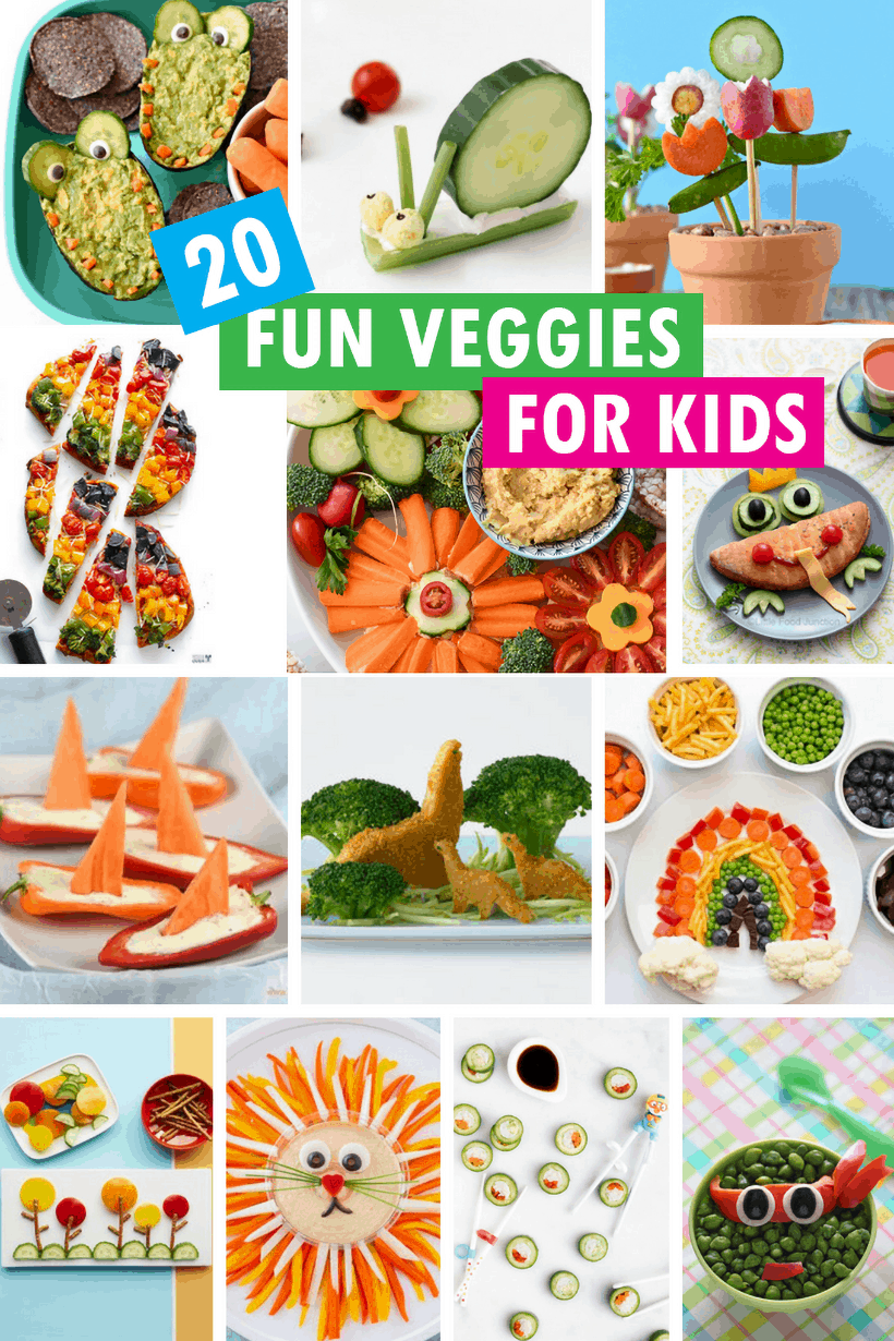 collage of fun vegetables for kids