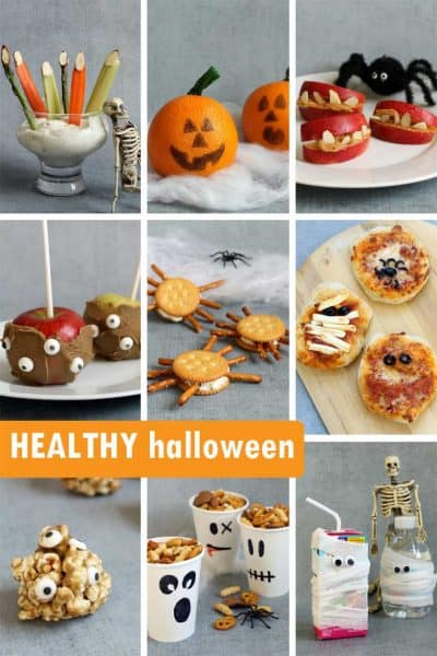 healthy halloween snacks and treats collage