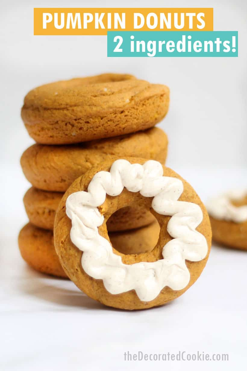 stack of pumpkin donuts with glaze