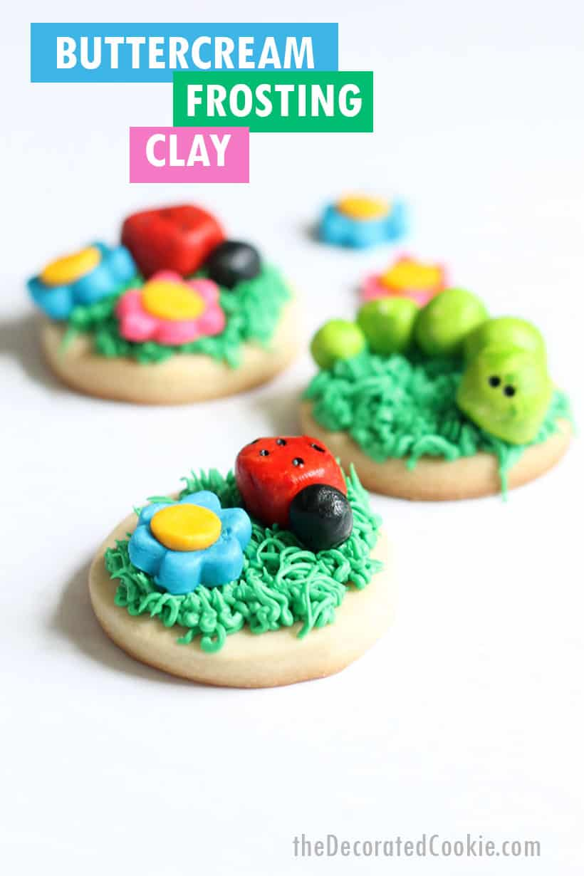 buttercream frosting clay to decorate bugs on cookies