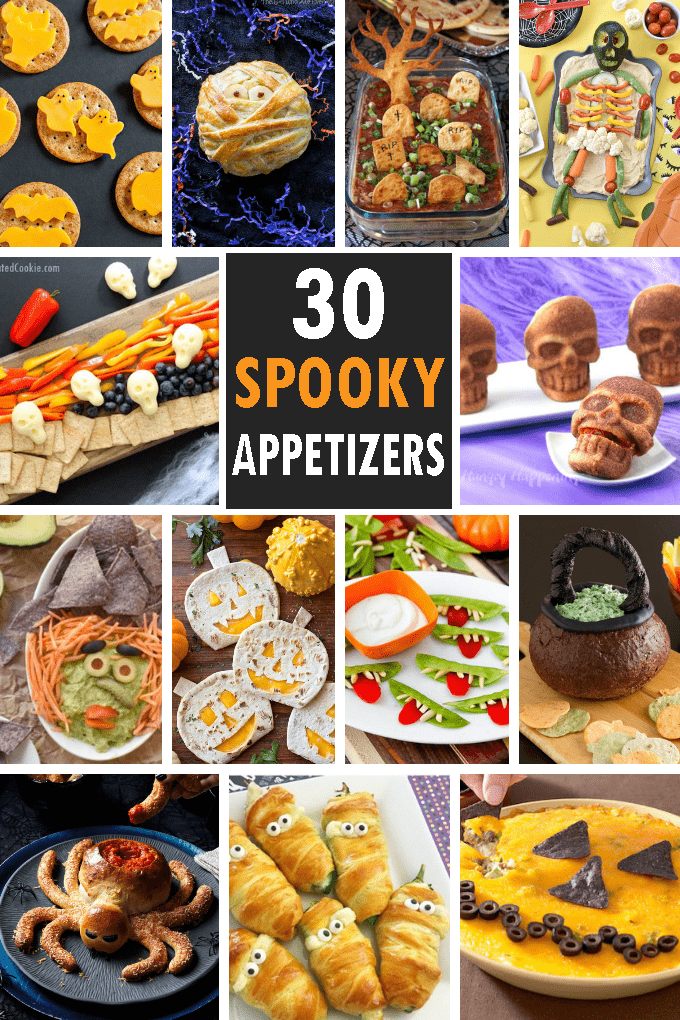 A roundup of 30 HALLOWEEN APPETIZERS and snacks, fun Halloween food ideas for your Halloween party. Spooky, easy appetizer ideas. #halloween #partyfood #halloweenappetizers #halloweensnacks #funfood #roundup