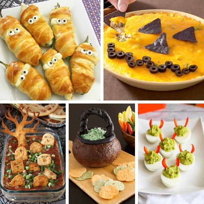 Eine Zusammenfassung von 30 HALLOWEEN-Vorspeisen und Snacks, lustige Halloween-Essensideen für Ihre Halloween-Party.  Gruselige, einfache Vorspeisenideen.  #halloween #partyfood #halloweenappetizers #halloweensnacks #funfood #roundup