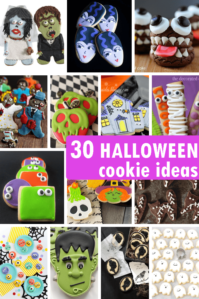 30 HALLOWEEN COOKIES: Roundup of the best cookie decorating ideas for Halloween. #HalloweenParty #HalloweenCookies #HalloweenTreats #cookies #cookiedecorating