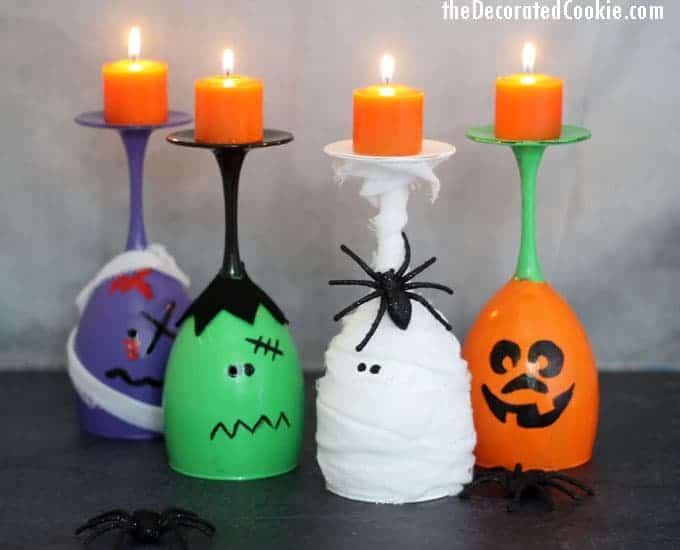 These Halloween wine glass candles are easy Halloween crafts to make for DIY Halloween decorations. Perfect for a Halloween party centerpiece. #halloween #wineglass #candles #diy #crafts #Halloweencrafts #HalloweenDecorations #DIY