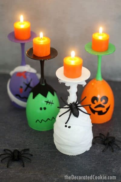 zombie, witch, Jack O' Lantern, and mummy wine glass candles