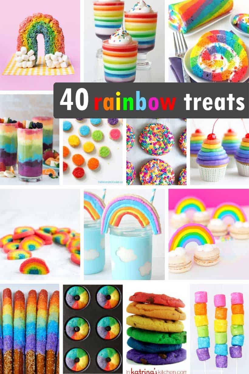 collage of rainbow food ideas