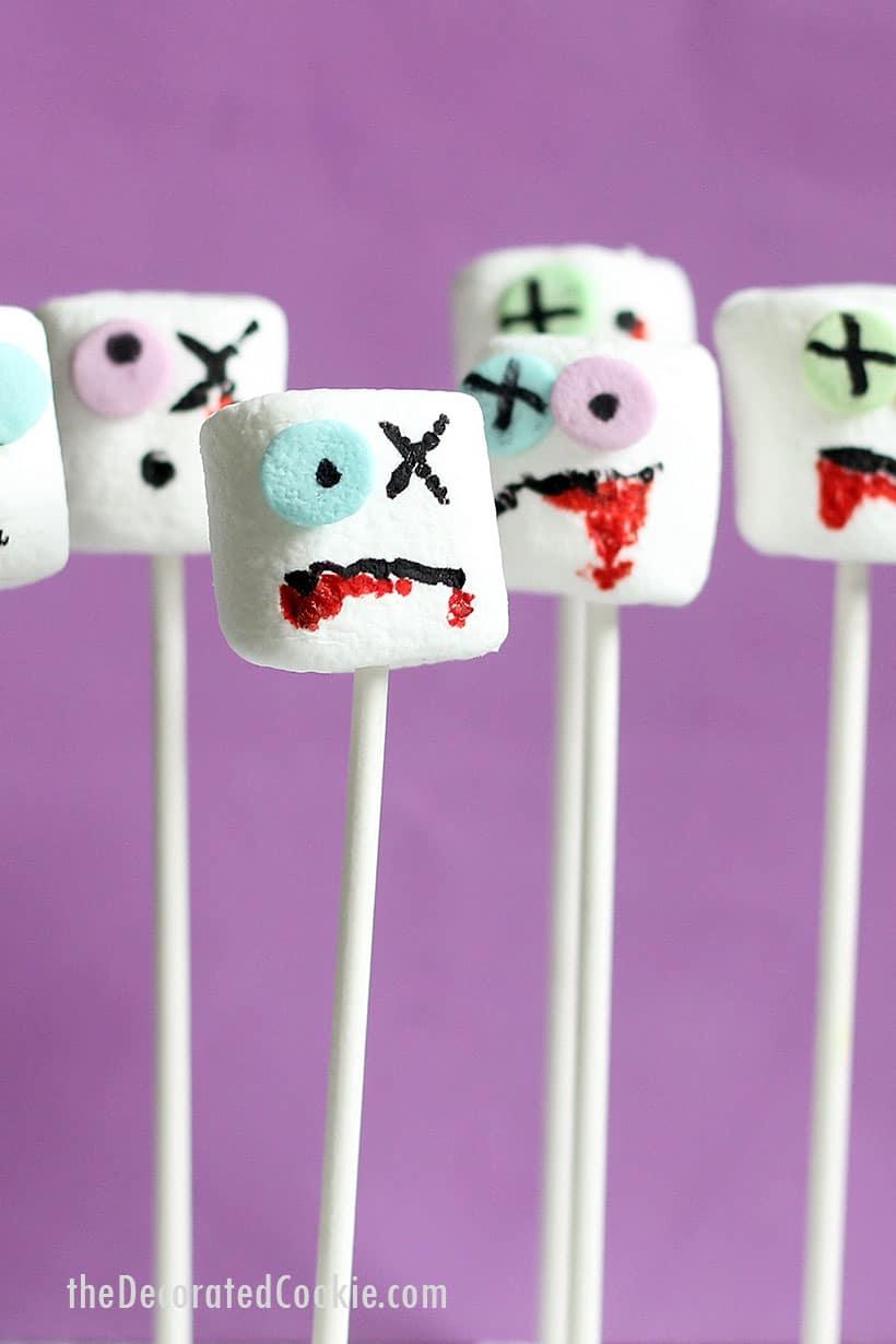zombie marshmallows on a stick