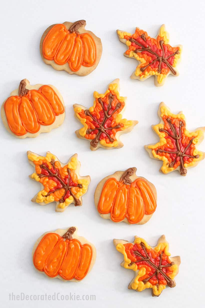 pumpkin and leaf cookies