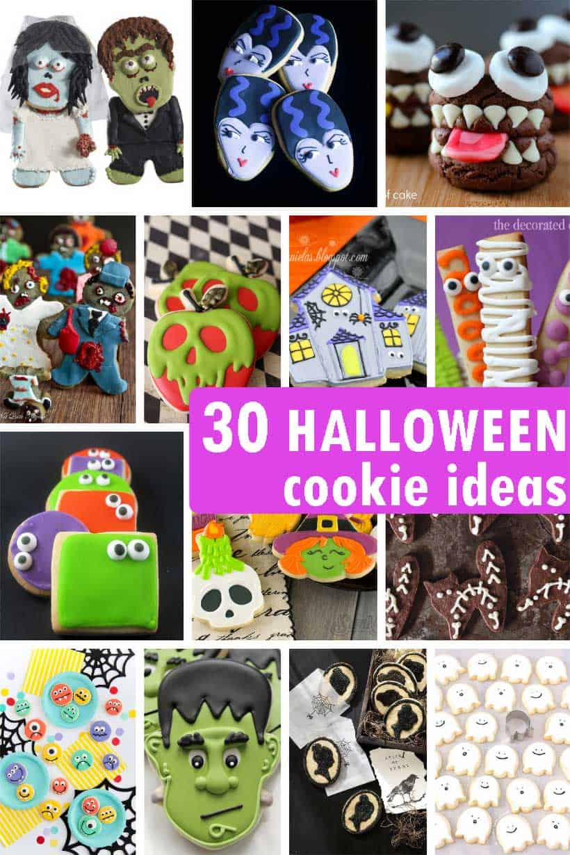 collage of Halloween cookie ideas