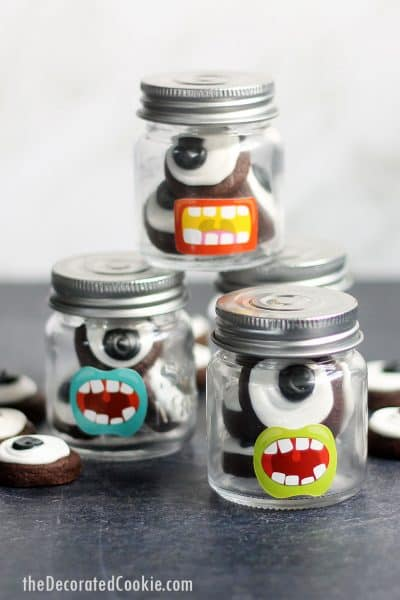 Halloween eyeball cookies in a jar