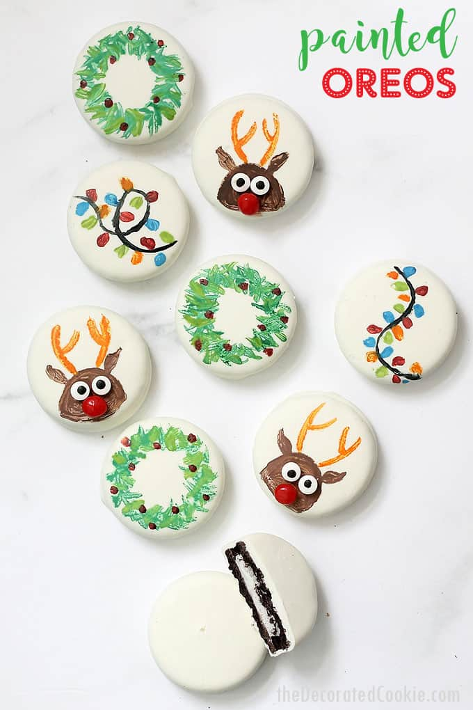 Painted Christmas Oreos Easy Christmas Cookies Idea