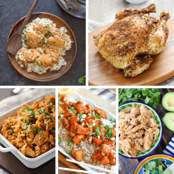 20 INSTANT POT CHICKEN RECIPES -- A roundup of easy chicken dinner ideas to make in minutes in your pressure cooker. Great weeknight dinners. #instantpot #instantpotchicken #chickenrecipes #dinnerrecipes #pressurecooker #easychickenrecipes