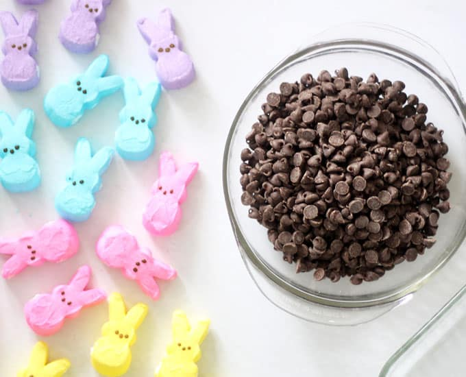 EASTER PEEPS S'MORES DIP is an easy, 2-ingredient Easter dessert. Chocolate chips and Peeps marshmallow bunnies with graham crackers and pretzels. Video.
