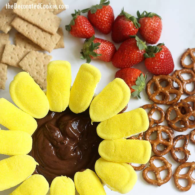 SUNFLOWER PEEPS CHOCOLATE YOGURT DIP is a fun, healthy dessert or appetizer for Easter, Mother's Day, and Spring. Made with marshmallow Peeps.