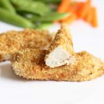 "WHEAT GERM CHICKEN BREAST RECIPE -- healthy dinner idea for picky eaters and kids! Avocado and wheat germ baked ""breaded"" chicken strips."