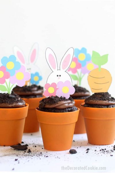 ONE-BOWL CHOCOLATE CUPCAKES AND CHOCOLATE BUTTERCREAM FROSTING -- Moist, flower pot Easter cupcakes with free Easter printables