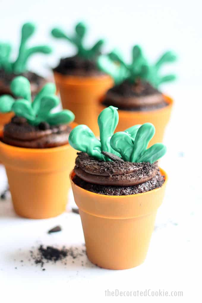 FLOWER POT CUPCAKES -- Delicious chocolate cupcakes with chocolate buttercream frosting, topped with candy sprouts for Earth Day, garden, or spring.