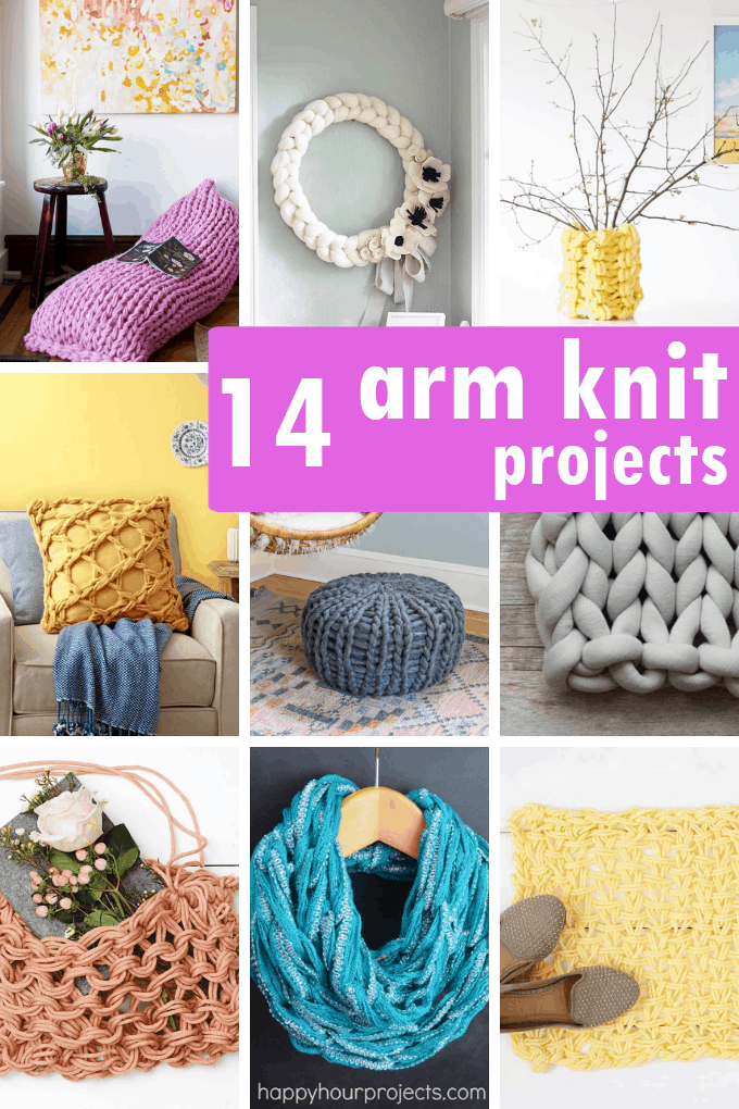 A roundup of 30 FINGER AND ARM KNITTING projects -- free patterns including blankets, scarves, pillows, home decor, accessories, and more.
