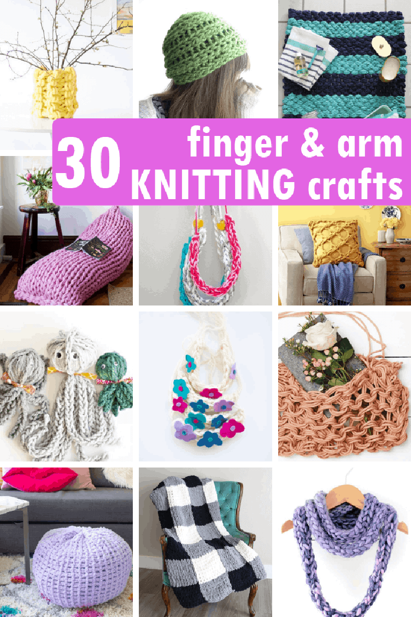 a collage of finger and arm knitting crafts
