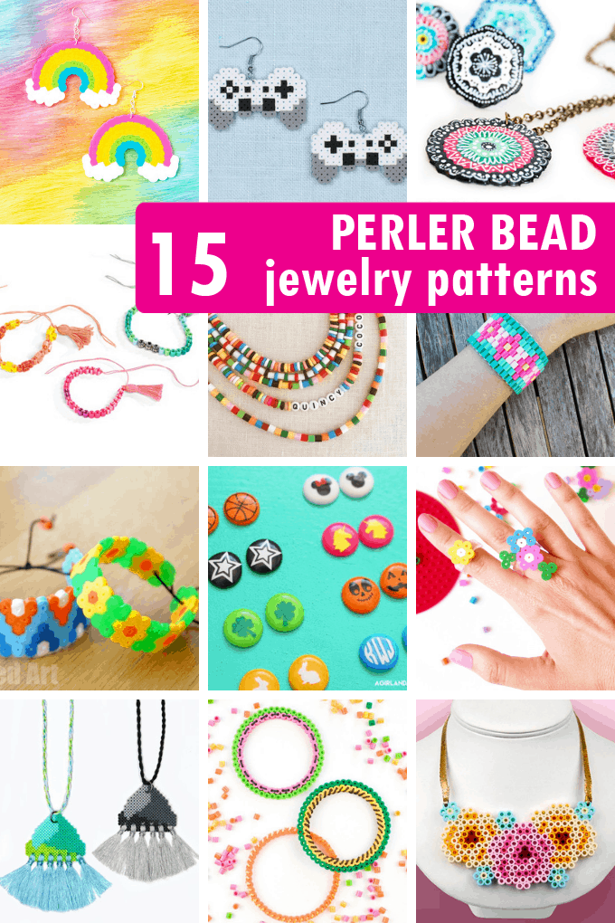 A roundup of 15 JEWELRY PERLER BEAD PATTERNS. How to make hama beads or fused beads into necklaces, earrings, and bracelets.