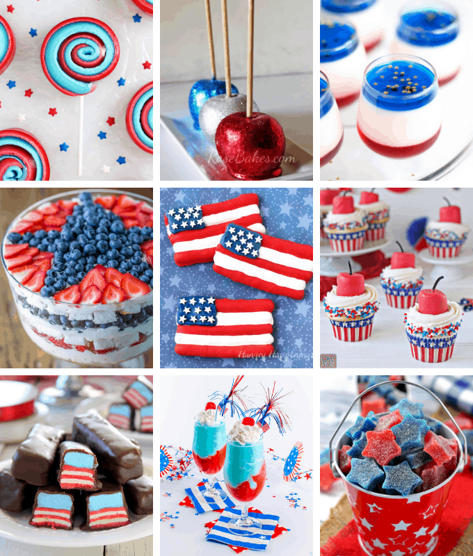 50 of the BEST 4TH OF JULY DESSERTS! Cupcakes, cookies, marshmallows, pretzels, donuts, fruit, Rice Krispie treats, and more.