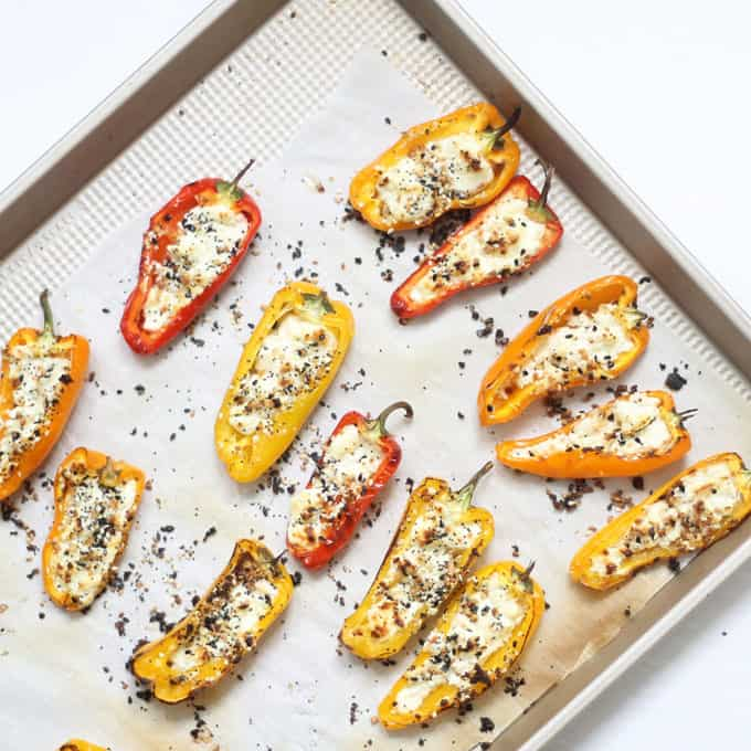 how to make goat cheese mini stuffed peppers -- on baking tray