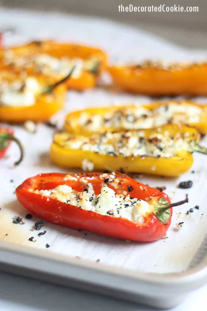 how to make goat cheese mini stuffed peppers -- close up on baking tray
