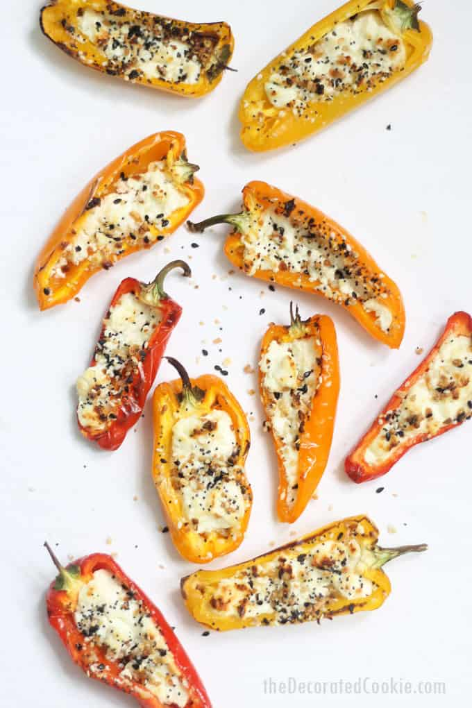 how to make goat cheese mini stuffed peppers -- overhead image